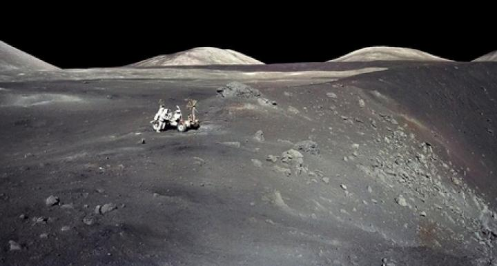 """Apollo 17 astronaut Harrison """"Jack"""" Schmitt stands next to a steep-walled crater named Shorty on Dec. 13, 1972. The UA's Jessica Barnes is among the scientists selected by NASA to be granted access to previously unopened samples, including some collected during NASA's last manned mission to the moon. (Photo: NASA)"""